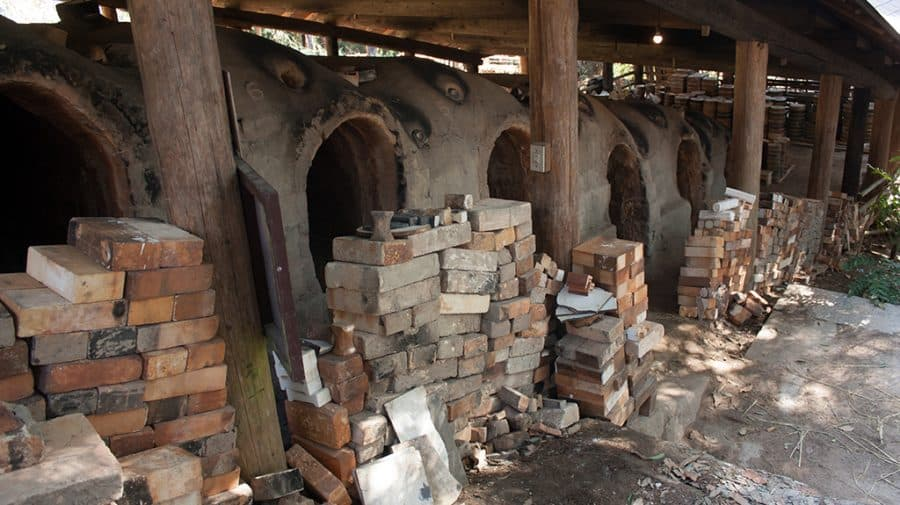 il grande forno hanagama del famoso ceramista Hamada a Mashiko
