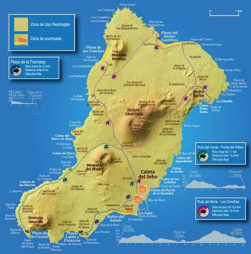 una mappa delle migliori spiagge a La Graciosa, Canarie